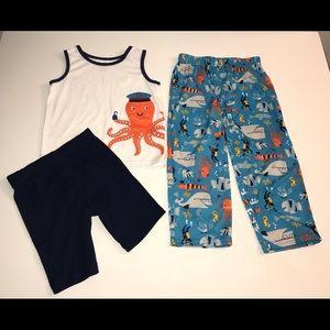 Carter's 3 Piece PJ Set w/Octopuses & Fish Sz: 6-7